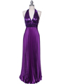 5141 Purple Sequin Top Halter Evening Dress - Purple, Front View Thumbnail