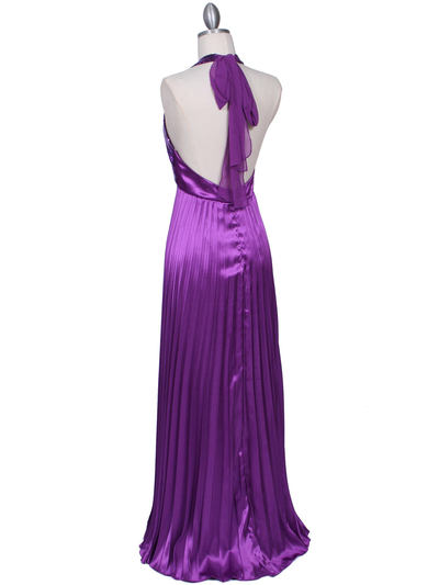 5141 Purple Sequin Top Halter Evening Dress - Purple, Back View Medium