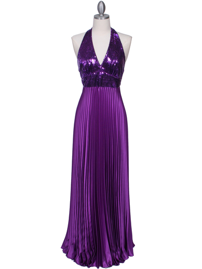 5141 Purple Sequin Top Halter Evening Dress - Purple, Front View Medium