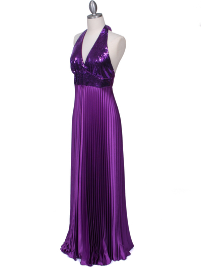 5141 Purple Sequin Top Halter Evening Dress - Purple, Alt View Medium