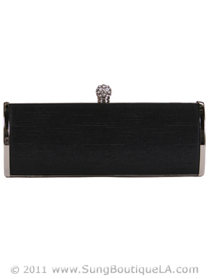 BL517A Black Evening Clutch with Rhinestone Clip, Black