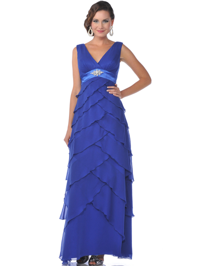 519 Chiffon Tiered Evening Dress - Blue, Front View Medium