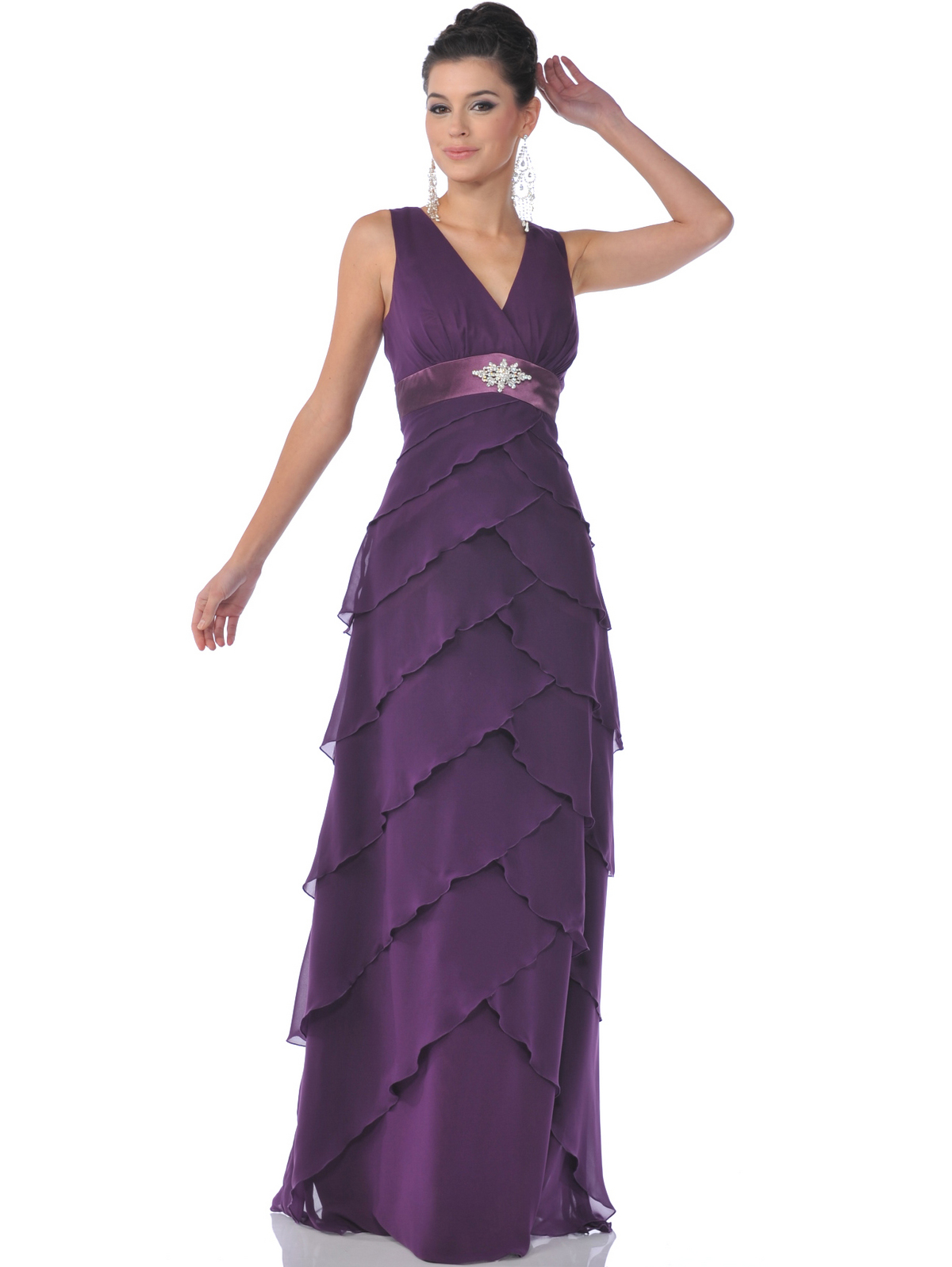 Chiffon Tiered Evening Dress Sung Boutique L A