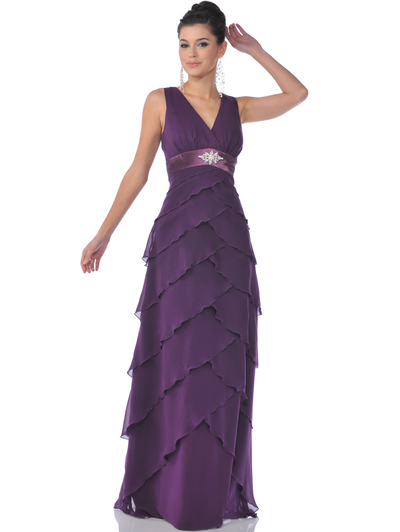 519 Chiffon Tiered Evening Dress - Eggplant, Front View Medium