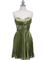 5203 Apple Green Strapless Pleated Cocktail Dress - Apple Green, Front View Thumbnail