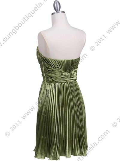5203 Apple Green Strapless Pleated Cocktail Dress - Apple Green, Back View Medium