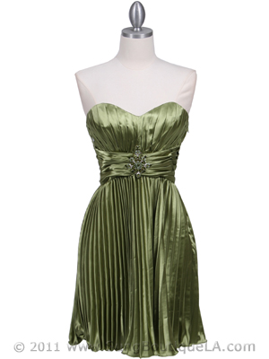 5203 Apple Green Strapless Pleated Cocktail Dress, Apple Green