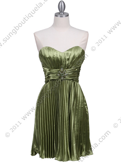 5203 Apple Green Strapless Pleated Cocktail Dress - Apple Green, Front View Medium