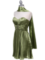 5203 Apple Green Strapless Pleated Cocktail Dress - Apple Green, Alt View Thumbnail