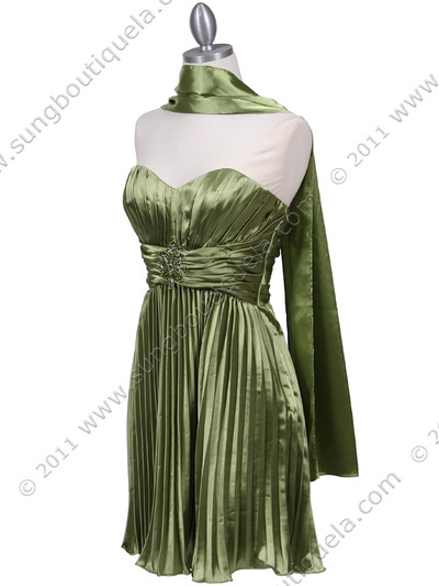 5203 Apple Green Strapless Pleated Cocktail Dress - Apple Green, Alt View Medium