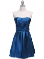 Teal Taffeta Homecoming Dress - Front Image
