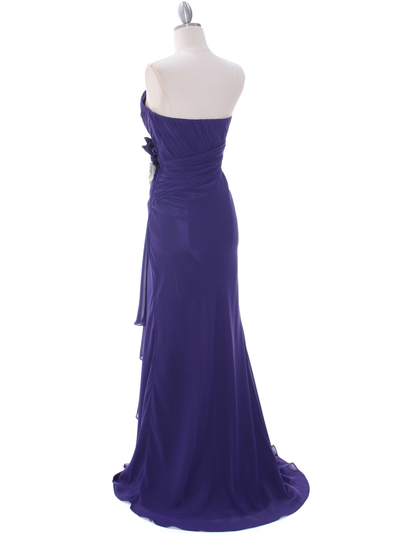 5230 Purple Strapless Evening Dress - Purple, Back View Medium