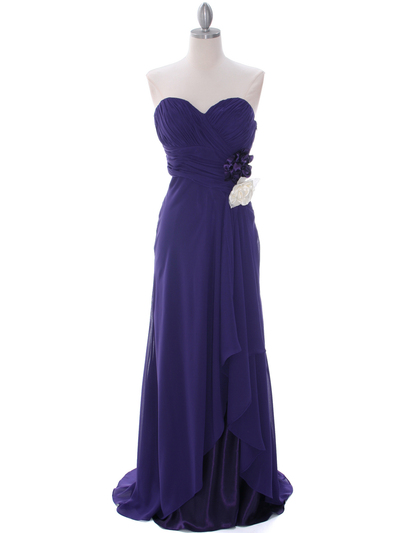 5230 Purple Strapless Evening Dress - Purple, Front View Medium