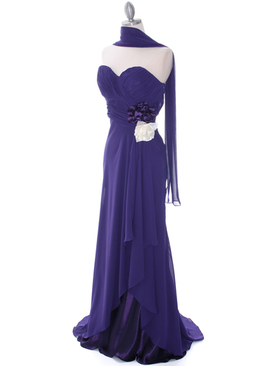 5230 Purple Strapless Evening Dress - Purple, Alt View Medium