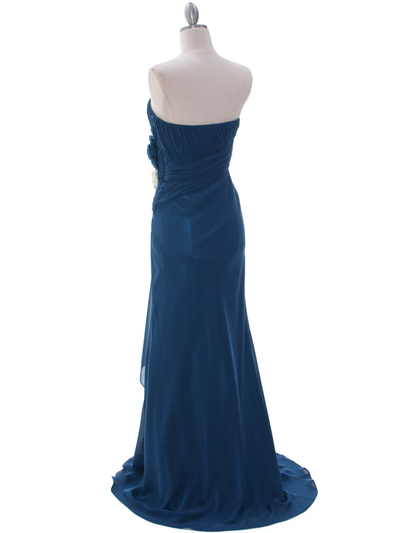 5230 Teal Strapless Evening Dress - Teal, Back View Medium