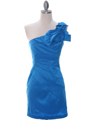 5232  Blue Stretch Taffeta Cocktail Dress - Front Image