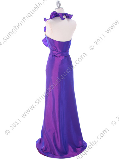 5237 Purple Taffeta Evening Dress - Purple, Back View Medium