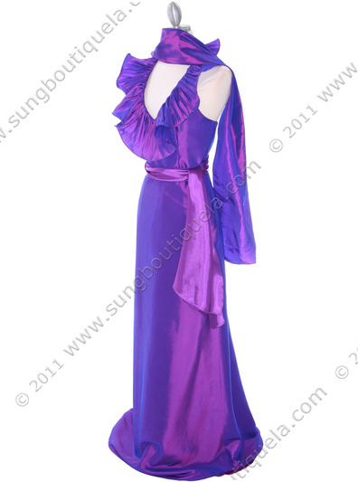 5237 Purple Taffeta Evening Dress - Purple, Alt View Medium