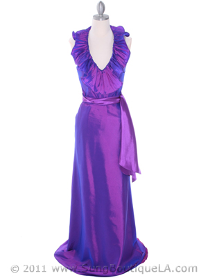 Purple Taffeta Evening Dress - Front Image
