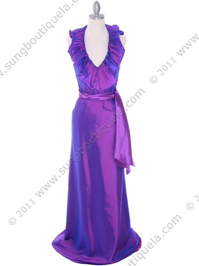 5237 Purple Taffeta Evening Dress - Purple, Front View Medium