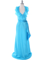 5237 Turquoise Taffeta Evening Dress - Turquoise, Front View Thumbnail