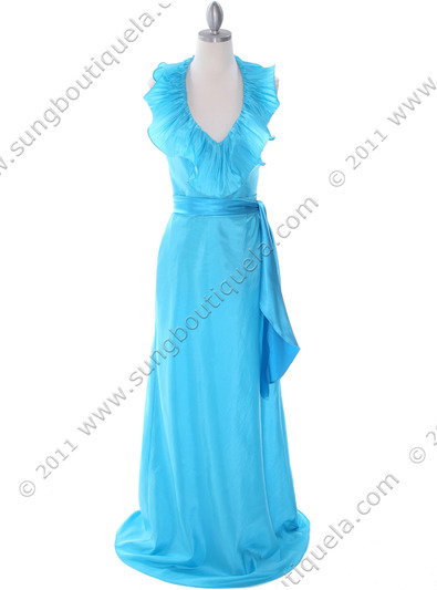 5237 Turquoise Taffeta Evening Dress - Turquoise, Front View Medium