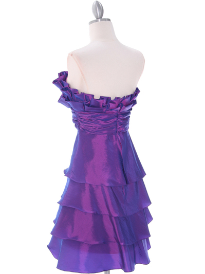 5239 Purple Homecoming Dress - Purple, Back View Medium