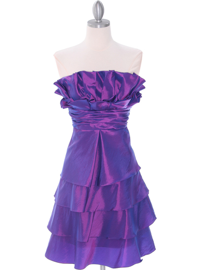 5239 Purple Homecoming Dress - Purple, Front View Medium