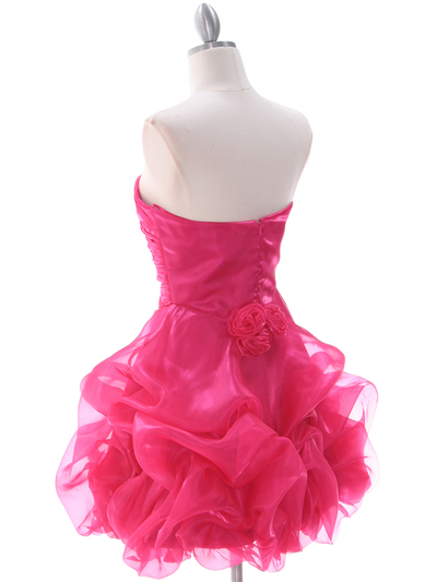 5240 Hot Pink Short Prom Dress - Hot Pink, Back View Medium