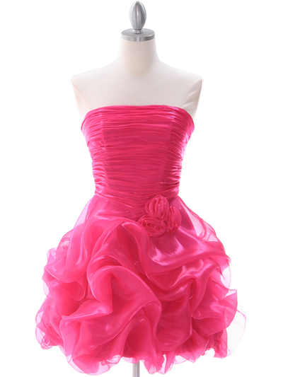 5240 Hot Pink Short Prom Dress - Hot Pink, Front View Medium