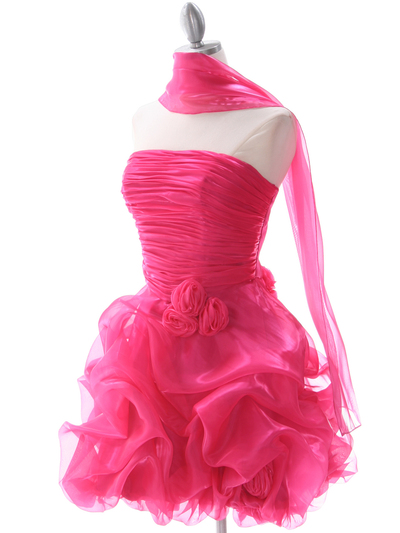 5240 Hot Pink Short Prom Dress - Hot Pink, Alt View Medium