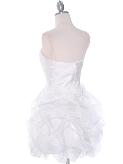 5240 Off White Graduation Dress - Off White, Back View Medium