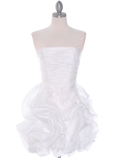 5240 Off White Graduation Dress - Off White, Front View Medium