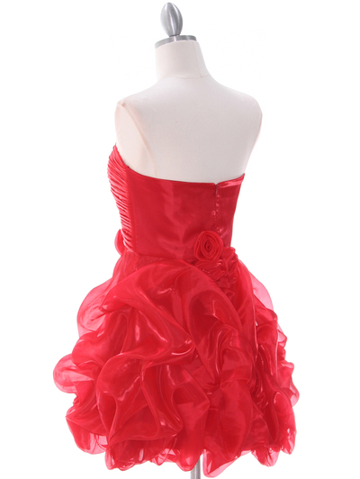 5240 Red Short Prom Dress - Red, Back View Medium