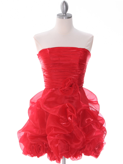5240 Red Short Prom Dress - Red, Front View Medium