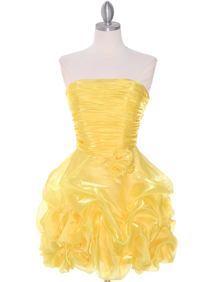 5240 Yellow Short Prom Dress, Yellow