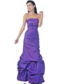 Purple Strapless Taffeta Evening Dress with Pick Up Hem - Front Image