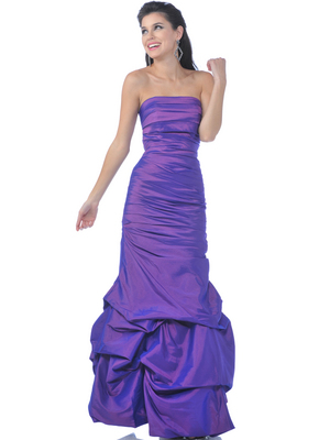 5243 Strapless Taffeta Evening Dress with Pick Up Hem, Purple