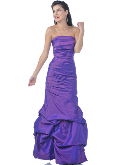 5243 Strapless Taffeta Evening Dress with Pick Up Hem - Purple, Front View Medium