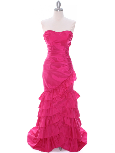 5247 Fuschia Taffeta Prom Evening Dress - Fuschia, Front View Medium