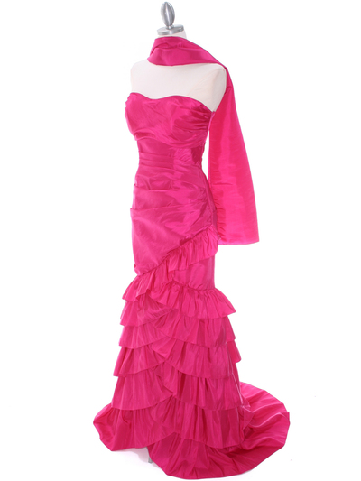 5247 Fuschia Taffeta Prom Evening Dress - Fuschia, Alt View Medium