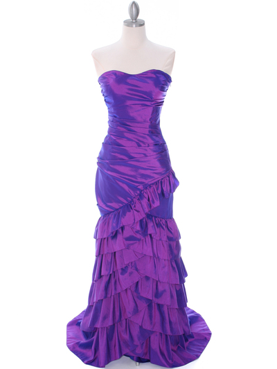 5247 Purple Taffeta Evening Dress - Purple, Front View Medium
