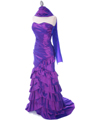 5247 Purple Taffeta Evening Dress - Purple, Alt View Thumbnail