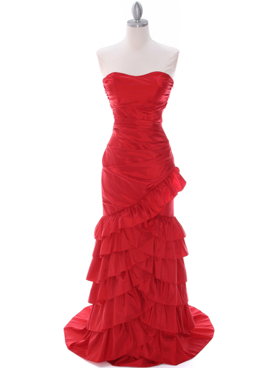 5247 Red Taffeta Prom Evening Dress - Red, Front View Medium