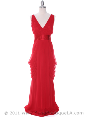 5492 Red Chiffon Evening Dress, Red