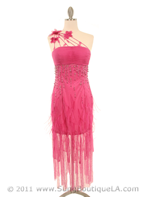5532 Pink Silk Dress with Feather, Pink