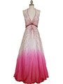 5541 White/Fuschia Bead Silk Gown - White Fuschia, Front View Thumbnail