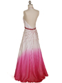 5541 White/Fuschia Bead Silk Gown - White Fuschia, Back View Thumbnail