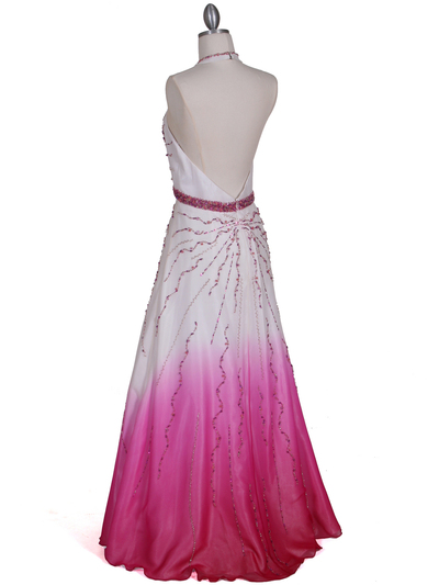 5541 White/Fuschia Bead Silk Gown - White Fuschia, Back View Medium