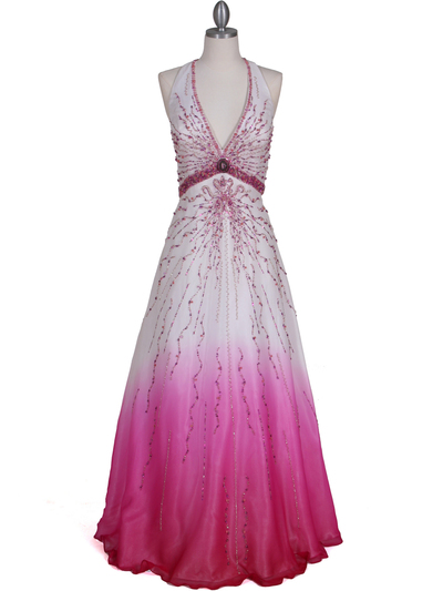 5541 White/Fuschia Bead Silk Gown - White Fuschia, Front View Medium